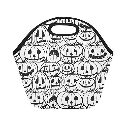 Insulated Neoprene Lunch Bag Halloween Pumpkins Your Design Large Size Reusable Thermal Thick Lunch Tote Bags For Lunch Boxes For Outdoors,work, Office, School