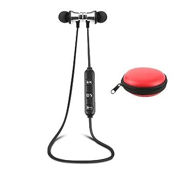 Tianu Auriculares inalámbricos Bluetooth con micrófono, para deportes, gimnasio, viajes, etc. red box,silver earphone: Amazon.es: Informática