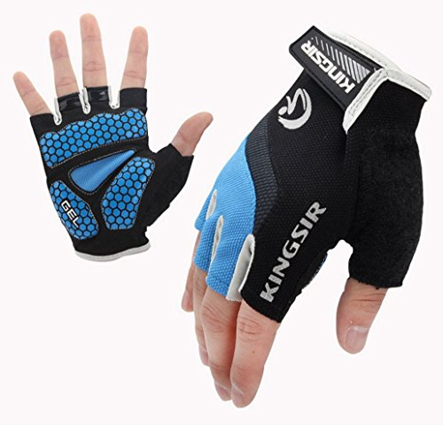 Lorsoul Cycling Gloves Mountain Bike Gloves Road MTB Bicycle Gloves Ultra Breathable Gel Pad Riding Gloves and Anti-slip Half Finger Biking Bicycle Gloves (Blue, ()