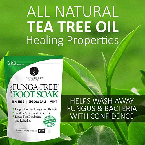 Tea Tree Oil Foot Soak With Epsom Salt, Antifungal Foot Soak Helps Away Toenail Fungus, Athletes Foot & Stubborn Foot Odor - Softens Calluses & Soothes Sore Tired Feet, 14 Ounce by Truremedy Naturals (Image #2)