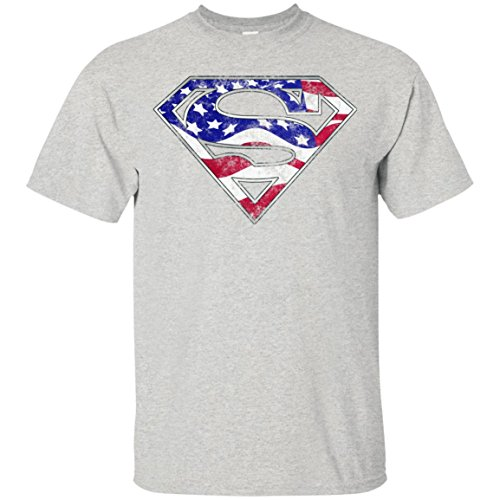 Swag Attack Gear Superman American Flag T-Shirt-Ash-XX-Large