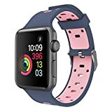 Band for Apple Watch 42mm, Super Soft Silicone iWatch Replacement Wristband for Apple Watch Series 3,Series 2, Series 1, Sport, Edition Nike+ (Blue Pink)