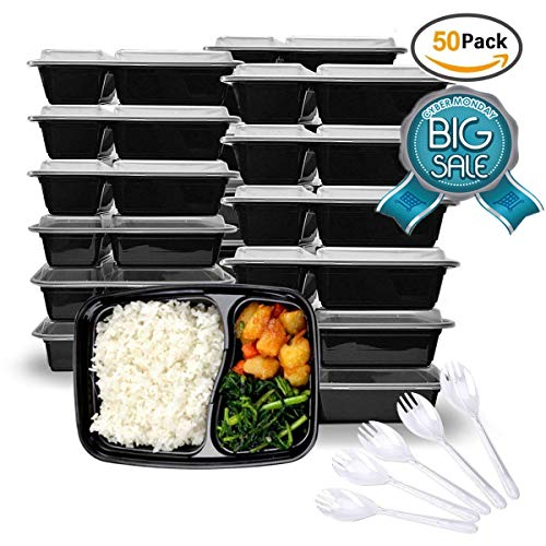 34oz Meal Prep Containers,Food Storage Containers with Fork Spoon and 2 Room,2 Separate Compartment with Clear Lids,Stackable&Reusable Lunch Boxes, Microwave/Dishwasher/Freezer Safe, (50-Pack)