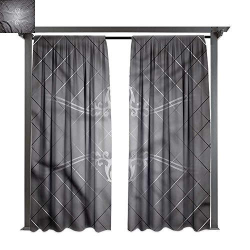 (cobeDecor UV Protectant Indoor Outdoor Curtain Panel Grey Checkered Pattern Scroll for Lawn & Garden, Water & Wind Proof W108 xL96)
