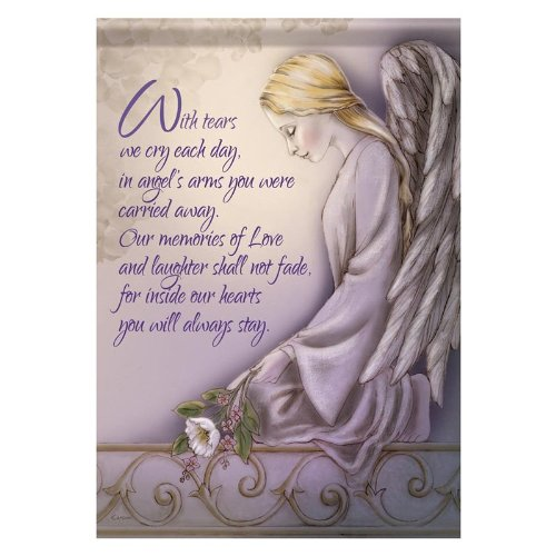 Cemetery Inspirational Angel Arms Double Sided Garden Flag 13 X 18 (Memorial Flag)
