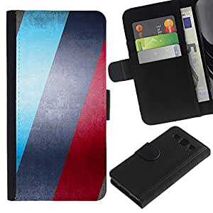 KLONGSHOP // Tirón de la caja Cartera de cuero con ranuras para tarjetas - AZUL Y ROJO RAYAS - Samsung Galaxy S3 III I9300 //