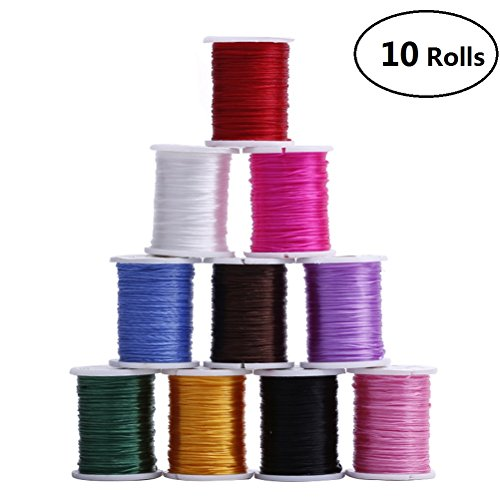 Knitted Bracelet Wire (EBTOYS Jewelry Beading Cords Elastic String Cord Knotting Cord for Jewelry Making Bracelet Beading Thread ,10 Rolls)