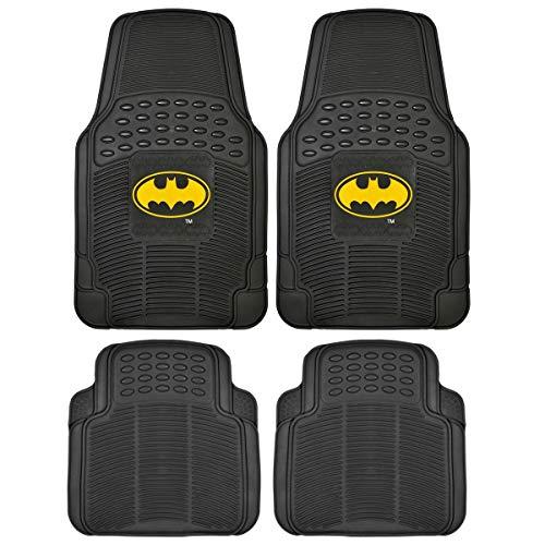 BDK WBMT-1372+MT-802-BK_AMZCJ2 Black Car Floor Mat (Batman Rubber, 4 PC Front Heavy Duty All Weather Protection - Trimmable to fit)