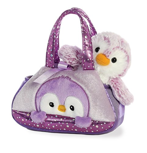 Aurora World Fancy Pals Peek-A-Boo Purse Pet Carrier Pom Pom Penguin, Purple (Boo Purse)