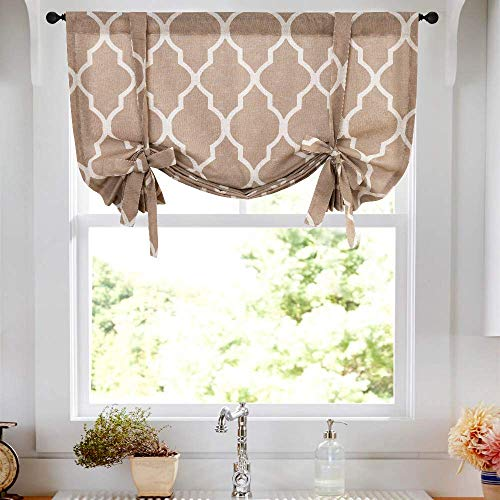 jinchan Moroccan Printed Paisly Tie Up Shade Curtains Rod Pocket Drapes Multicolor Medallion Flax Living Room's Window Curtain 1 Panel 54