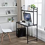 Office Desktop Laptop Computer Compact Desk with Storage, Home Study Writing Table with Shelf (Black)