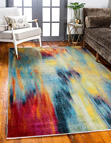 Unique Loom Lyon Collection Modern Abstract Multi Area Rug (8