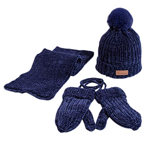 ZTY66 Baby Kid Girl Winter Knitted Bowknot Hat+Scarf+Gloves 3 Pieces Set (Navy) ()