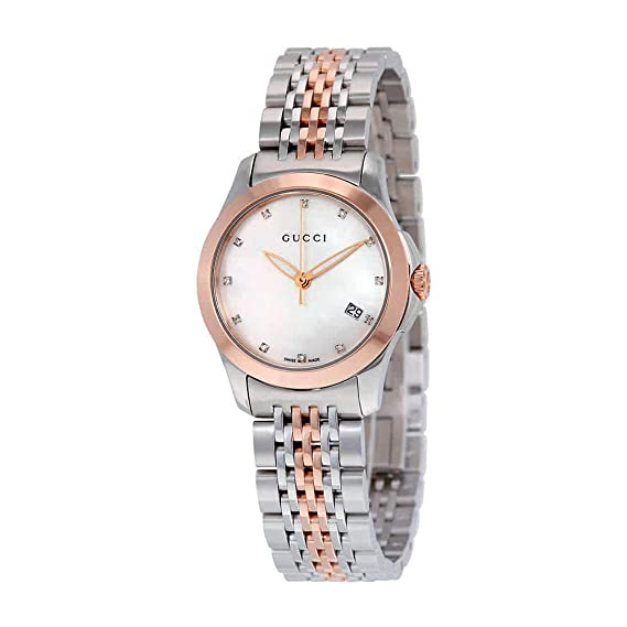 840a76d6eb5 Gucci Women s YA126514 Gucci timeless Steel and Pink PVD White Dial Watch   Amazon.ca  Watches