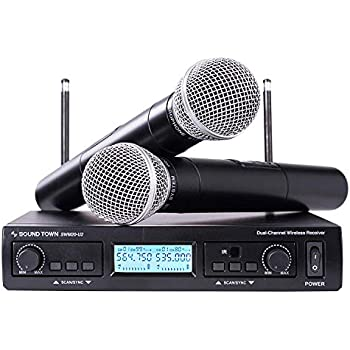 sound town 200 channel professional uhf wireless microphone system with 2 handheld. Black Bedroom Furniture Sets. Home Design Ideas