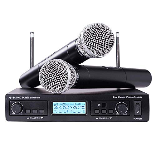 Sound Town 200-Channel Professional UHF Wireless Microphone System with 2 Handheld Microphones, for Church, Business Meeting, Outdoor Wedding and -
