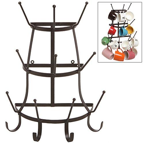 Vintage-Rustic-Brown-Metal-Wall-Mounted-14-Hook-Bottle-Mug-Storage-Organizer-Tree-Drying-Rack-MyGift