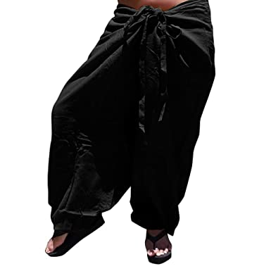 079280a992 wodceeke Women Soild Color Workout Trouser, Casual Cotton Linen Baggy Pants  Elastic Waist Yoga Drawstring