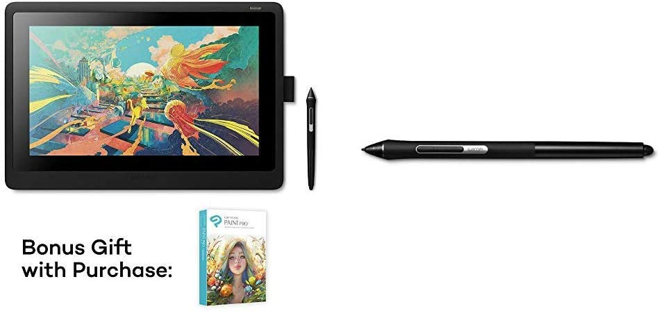 Wacom Cintiq 16 Drawing Tablet with Screen (DTK1660K0A) Bundle with Wacom Pro Pen Slim (KP301E00DZ)