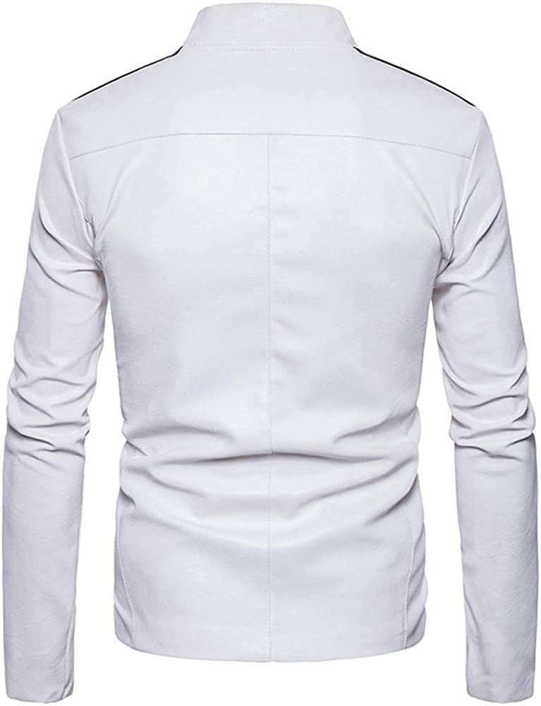 TAGGMY Jacket Men Fashion Winter Warm Big and Tall Symmetrical Stitching Zipper Stand Collar Imitation Leather Coat White