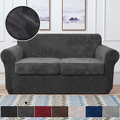 RHF Velvet Couch Cover 3 Piece Couch Covers for 2 Cushion Couch Sofa Covers for 2 Cushion Couch Loveseat Cover Couch Covers for Loveseat with 2 Separate Cushion Cover(Loveseat,Dark Gray)