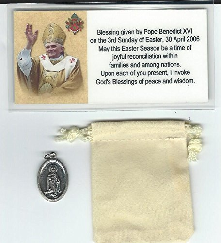 (Saint St Martin de Porres Medal Blessed by Pope Benedict XVI at Vatican with Holy Prayer Card)