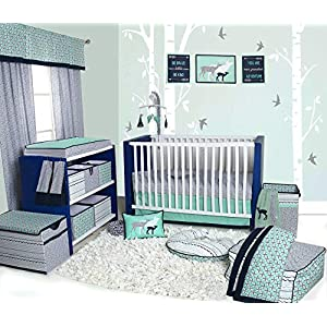 Bacati – Noah Tribal 10-Piece Nursery in a Bag 100 Percent Cotton Percale Unisex Crib Bedding Set with 2 Crib Fitted Sheets (Bumper Pad not Included) for US Standard Cribs (Mint/Navy)