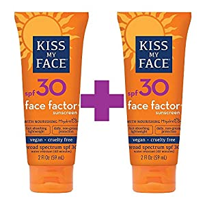 Kiss My Face Face Factor Sun Screen for Face and Neck, SPF 30, 2 Ounce Tube