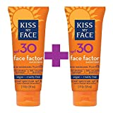 Kiss My Face Face Factor Sunscreen SPF 30 Sunblock for Face and Neck, 2 oz (2 packs)