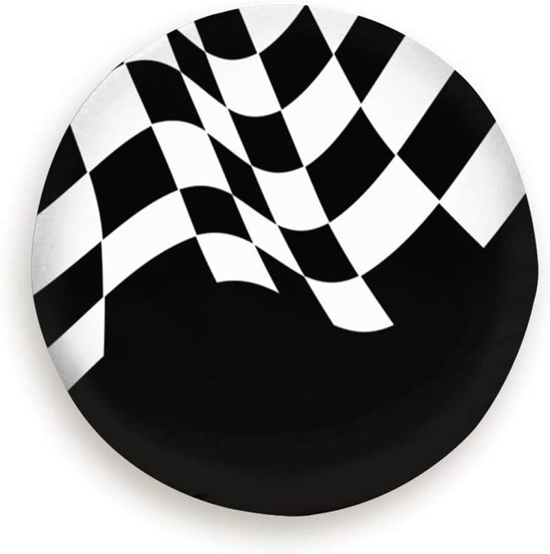SUV and Many Vehicle Spare Tire Cover Checkered Flag Wave Black White Sport Sports Recreation Checker Polyester Water Proof Dust-Proof Universal Spare Wheel Tire Cover Fit for Jeep,Trailer Rv