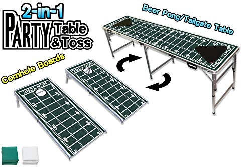 PartyPongTables.com 2-in-1 New York 2 Football Field 2-in-1 Cornhole Boards & Beer Pong Tailgate Table - New York Football Field