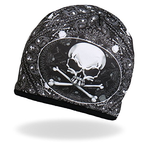 (HD Sublimation Beanie Black White Skull Crossbones Pasiley Stocking Cap )