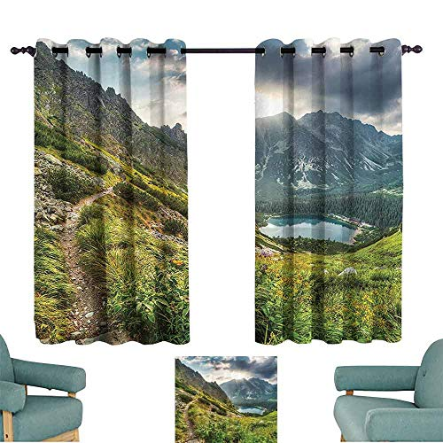 Bedroom Curtains 2 Panel Apartment Decor Collection Mountain by the Lake with Fairy Dark Cloudy Sky Spring Dream Spot on Earth Photo Blackout Draperies for Bedroom Window W55