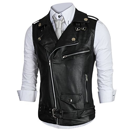 QinYing Men Slim Fit Oblique Zippers PU Leather Motorcycle Jacket Vest Black L/US S (Buckle Vest)