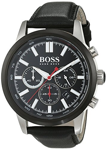 Hugo Boss 1513191 Leather Mens Watch - Black Dial, Chronograph