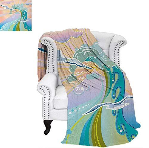 Velvet Plush Throw Blanket Cartoon Like Image Waves Birds Foams and Bubbles with Sunset Like Design Artwork Throw Blanket 90