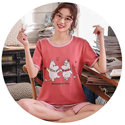 Bear Print Cartoon Top and Elastic Waist Shorts Pajama Set Sleepwear Woman Short Sleeve Casual Pajamas Sets Red