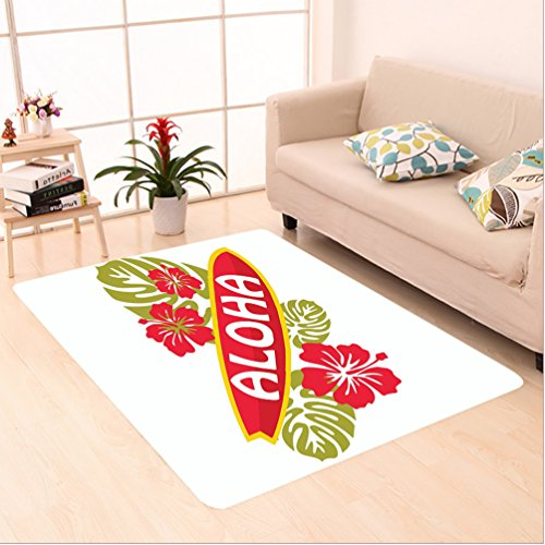 Nalahome Custom carpet ext on Surfboard with Tropical Flowers Leaves Typographical Hawaii Islands Picture Green and Red area rugs for Living Dining Room Bedroom Hallway Office Carpet (5' X 7') by Nalahome