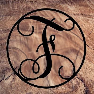 AJD Designs 22CR F Monogram Letter Circle F, Black