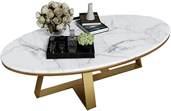 Amazon Com Xwzjy Oval Shaped Tea Coffee Table White Marble Couch Cocktail Table Leisure Snack Side Table Metal Base For Living Room Office Hotel 80 X 50 X 45 Cm Furniture Decor