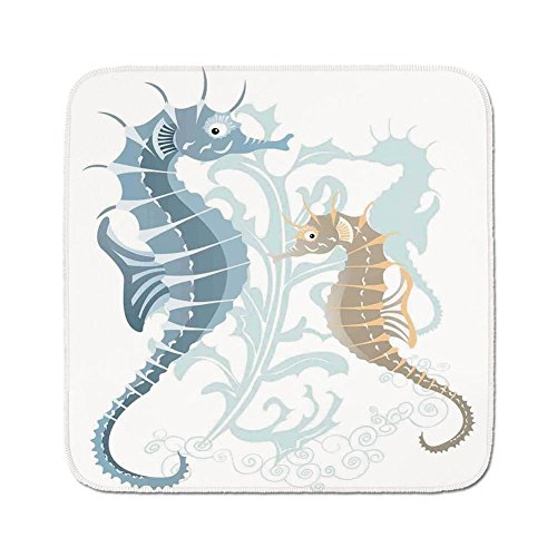 Cozy Seat Protector Pads Cushion Area Rug,Animal Decor,Pair of Little and Big Fishes in Soft Tones Featured Design Tropical Creatures,Blue Cream,Easy to Use on Any Surface