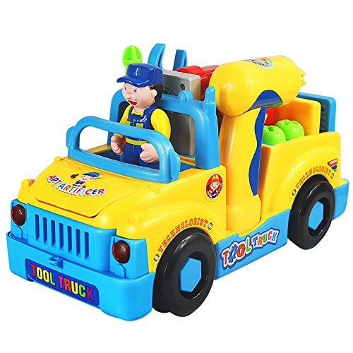 stem gifts for kids TOYK Truck Take Apart Toys for Boys Girl With Electric Drill and Various Take-A-Part Tools, Lights and Music, Construction Car Stem Toys for Kids
