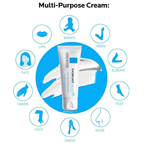La Roche-Posay Cicaplast Baume B5 Balm, Soothing Repairing Multi Purpose Balm for Dry & Irritated Skin, Body & Hand Cream, Fragrance Free