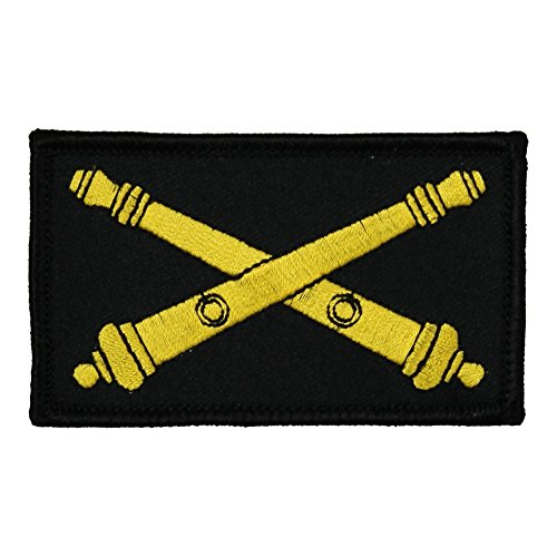 "Army Artillery 2"" x 3"" Hook & Loop 2 Piece Black Patch"