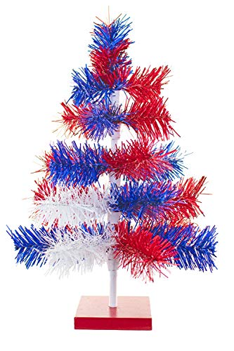 4th of July Christmas Trees Classic Tinsel Feather Style Tree Red, White, Blue Tabletop Height Vintage Retro American Patriotic Centerpiece Display Tree Indoor Outdoor w/Wood Base Stand (18'') -