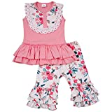 Toddler Kids Summer Sleeveless Lace Ruffles Floral Dress Pants Outfit Set Boutique Clothing for Baby Girls 2T