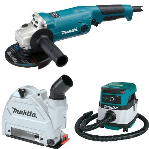Makita GA5020 5-Inch Angle Grinder with Super Joint System  with Makita 196846-1 Dust Extracting Tuck Point Guard, 5 inch with Makita XCV04Z 18V X2 LXT Lithium-Ion Cordless/Corded Dry Vacuum, 2.1 gallon