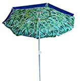 AMMSUN 6.5 ft Outdoor Patio Beach Umbrella with Push Button Tilt Air Vent and Fiberglass Rib Carry Bag (Blue&Green)