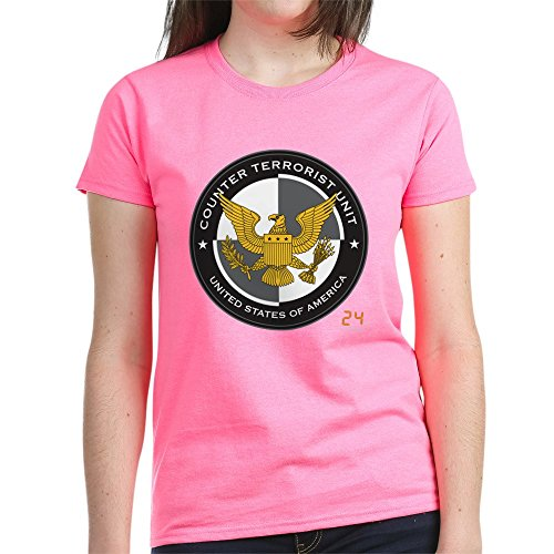 CafePress - 24 CTU Logo Women's Dark T-Shirt - Womens Cotton T-Shirt Pink ()