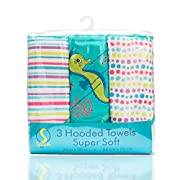 Spasilk 3 Pack Soft Terry Hooded Towel Set, Aqua Seahorse